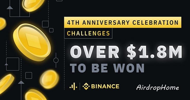binance-4th-birthday-1,8M-giveaway logo